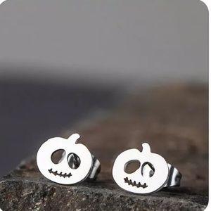 Stainless Steel Pumpkin Halloween Stud Earrings